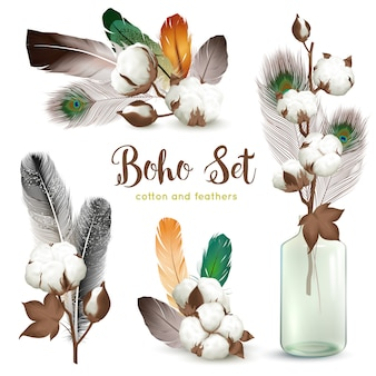 Cotton bolls feathers boho set