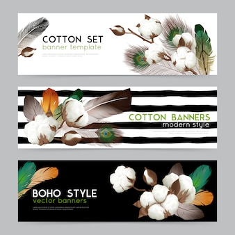 Cotton bolls with feathers boho style