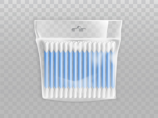 Cotton buds or swabs in blank plastic packet with hang hole
