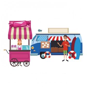 Cotton candy cart cartoon