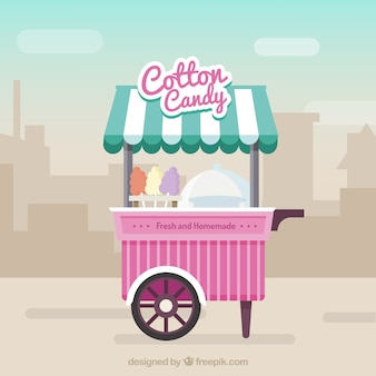 Cotton candy cart in the city