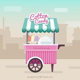 도시에서 솜 사탕 카트 무료 벡터