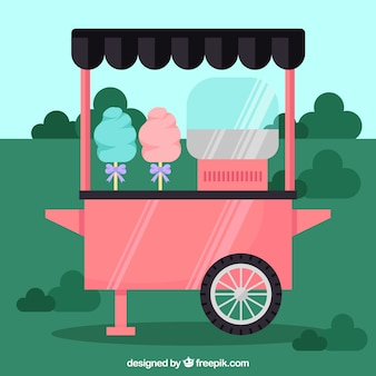 Cotton candy cart in the park
