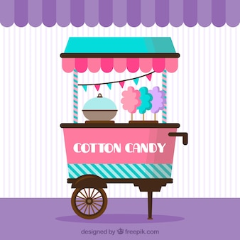 Cotton candy cart with party flags
