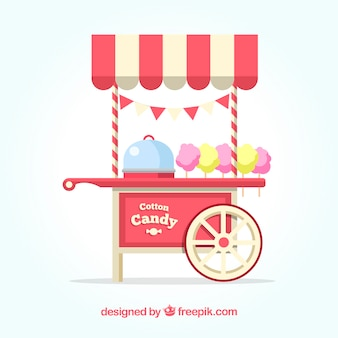 Cotton candy cart with traditional colors
