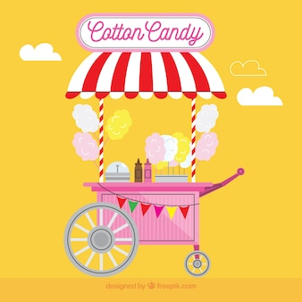 Cotton candy cart and yellow background