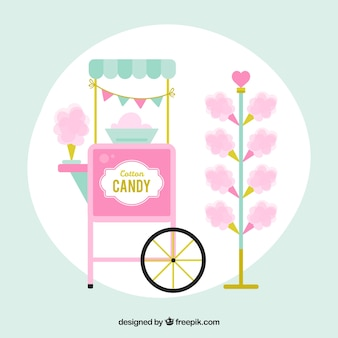 Cotton candy and cotton candy cart