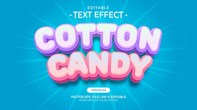 Cotton candy editable text effects