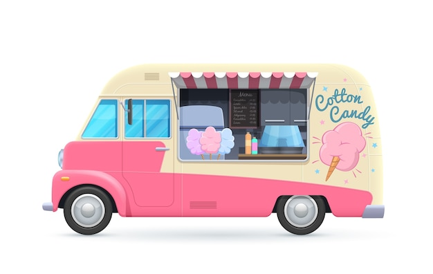 Cotton candy food truck, isolated van, cartoon car for street food desserts selling.
