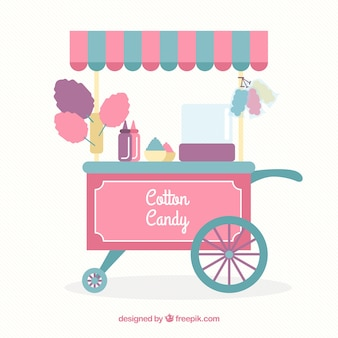 Cotton candy kiosk with awning