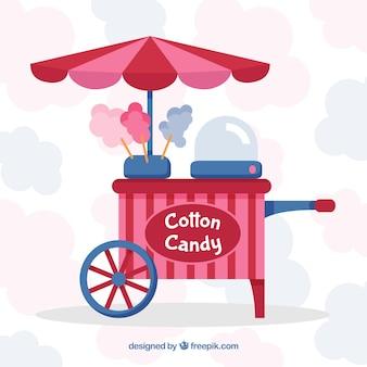 Chiosco di caramelle di cotone con ombrello