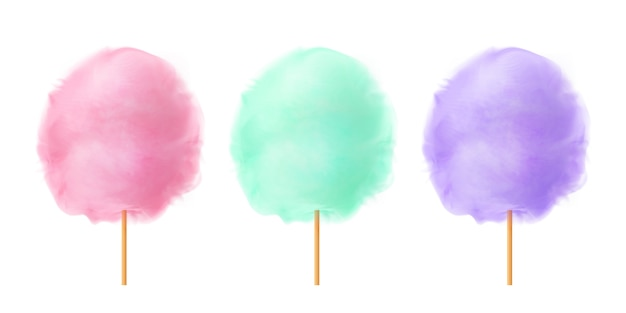 Cotton candy set. realistic pink green purple cotton candies on wooden sticks. summer tasty and sweet snack for children.