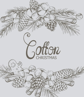 Cotton christmas composition with decorations