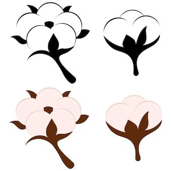 목화 꽃과 공 흰색 배경에 고립입니다. 베이지색 및 흑백 기호 또는 천연 에코 유기농 섬유, 직물의 로고. 평면 디자인 아이콘 세트입니다. 목화 섬유 기호 벡터 일러스트 레이 션,