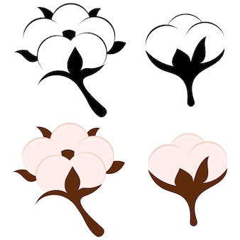Cotton flower and ball isolated on white background. beige and black and white symbol or logo of natural eco organic textile, fabric. flat design icon set. vector illustration of cotton fiber sign,