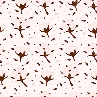 Cotton flower and ball vector floral seamless pattern. beige symbol of natural eco organic textile, fabric. endless texture. sample design cartoon background for wallpapers, surface textures, textile.