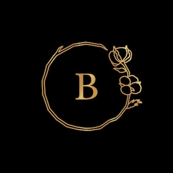 Cotton flower and branch gold monogram frame. round wreath with copy space. badge in trendy minimalist linear style. vector logo with letter b and cotton plant. for cosmetics, wedding, florist