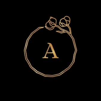 Cotton flower and branch gold monogram frame. round wreath with copy space. badge in trendy minimalist linear style. vector logo with letter a and cotton plant. for cosmetics, wedding, florist