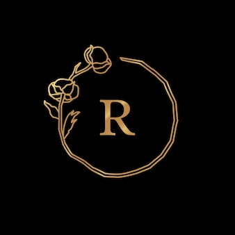 Cotton flower and branch gold monogram frame. round wreath with copy space. badge in trendy minimalist linear style. vector logo with letter r and cotton plant. for cosmetics, wedding, florist
