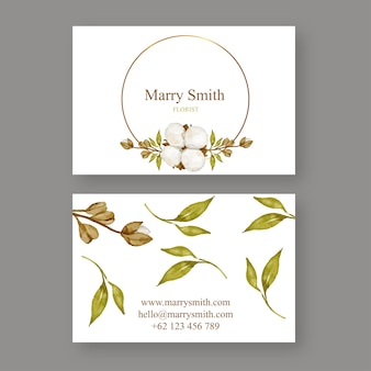 Cotton flower business card template