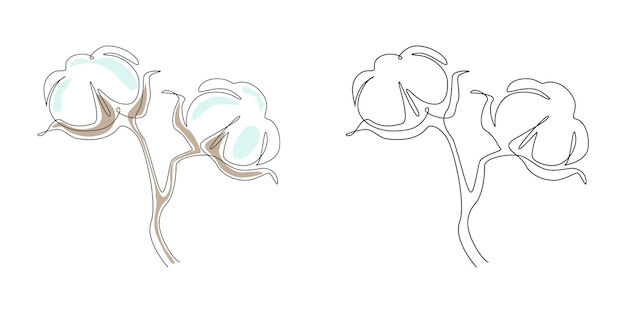 Cotton flower in continuous one line drawing. minimalist clean fiber flower Premium Vector