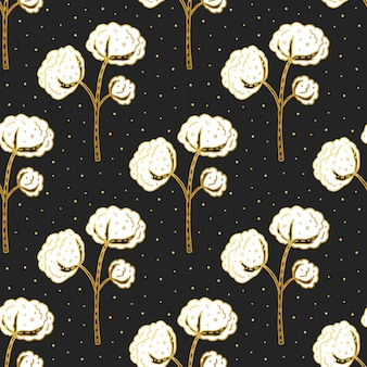 Cotton flower cute  seamless pattern