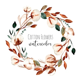 Cotton flower frame watercolor wreath