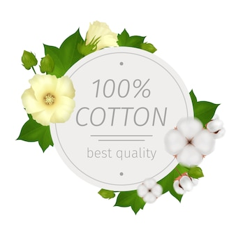 Cotton flower realistic round composition with best quality description and flowers around