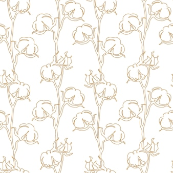 Cotton flower seamless pattern in one continuous line drawing. blossom ball in sketch doodle style. used for for wedding invitations, wallpaper, textile, wrapping paper. vector illustration