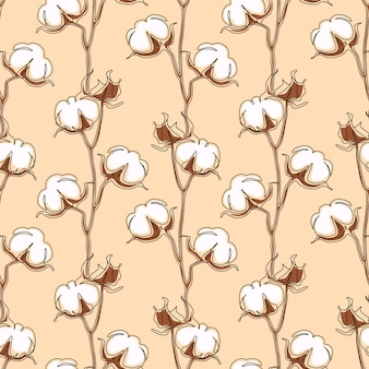 Cotton flower seamless pattern in one continuous line drawing. white blossom ball in sketch doodle style. used for for wedding invitations, wallpaper, textile, wrapping paper. vector illustration