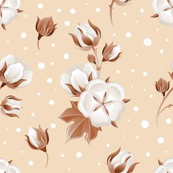 Бесшовный узор из хлопкового цветка