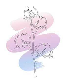 Cotton flowers in one line continuous drawing with brushstroke. abstract  illustration