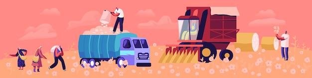 綿の収穫の概念。男性と女性の労働者のキャラクターがフィールドで繊維を拾い、輸送と輸送のためにトラックに入れます。アグリビジネス繊維産業。漫画フラットベクトルイラスト