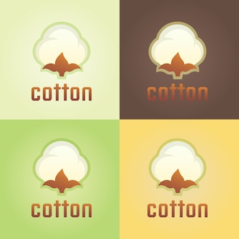 Cotton isolated vector logo template, cotton and wool clothes abstract floral logo Premium Vector