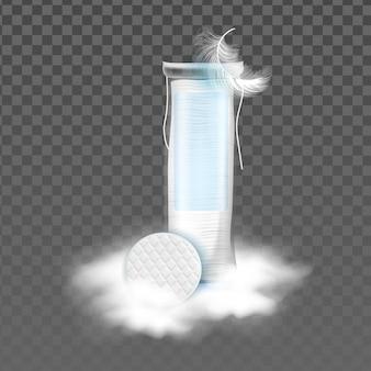 コットンパッドブランクバッグと鳥の羽のベクトル。ソフトコットンディスクスポンジパッケージとふわふわの雲。化粧品テンプレートから顔の皮膚をきれいにするための衛生的なアクセサリーリアルな3dイラスト
