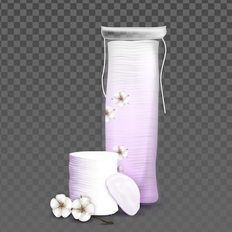 Cotton pads blank bag and blossom flower vector