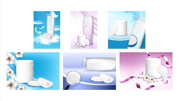 コットンパッドクリエイティブプロモーションポスターセットベクトル。コットンパッドヒープと空白のパッケージ、花と鳥の羽の広告マーケティングバナー。スタイルカラーコンセプトテンプレートイラスト
