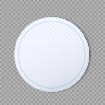 Ватные диски реалистичные значок. круглая мягкая многослойная гигиеническая губка с диском для очищения кожи, снятия макияжа, ухода за кожей и приема лекарств. 3d векторные иллюстрации