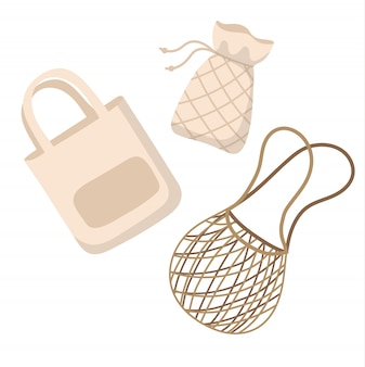 코 튼 재사용 가능한 가방-만화 스타일에 제로 폐기물 개념 벡터 일러스트.