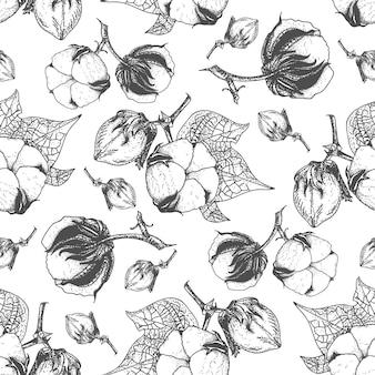 Cotton seamless pattern hand drawn