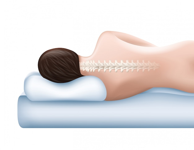 Cotton surface. orthopedic pillow. healthy sleep. woman with even spine lying on pillow. sleep on pillow.