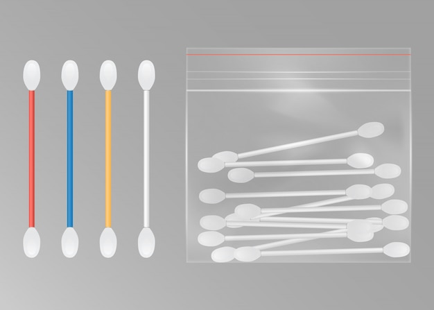 Cotton swabs for ears with packet.