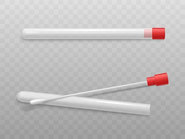 赤い帽子が付いているプラスチック管の綿棒