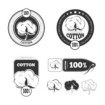 綿のビンテージベクトルのロゴ、ラベル、バッジのセット。