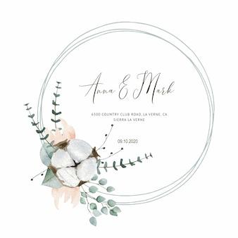 結婚式のカードのための綿の結婚式の招待状、日付と葉を保存