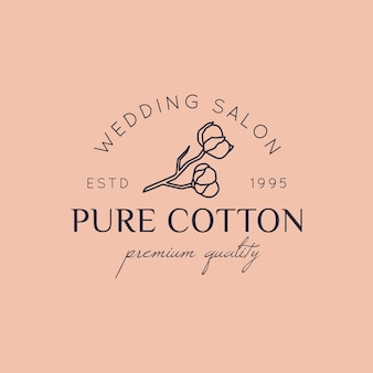 Cotton wedding logos in minimal trendy style. liner floral labels and badges - vector icon, sticker, stamp, tag with cotton flower for wedding salon and bridal shop dresses