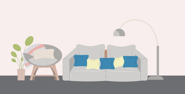Couch armchair lamp and houseplant modern living room interior horizontal