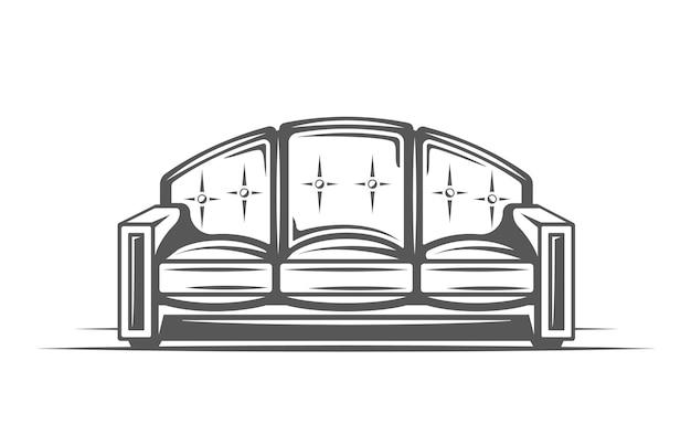 흰색 배경에 고립 된 소파