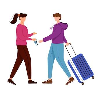 カウチサーフィンフラット輪郭イラスト。無料宿泊。女の子はゲストに鍵を渡します。予算の観光。安い旅行の選択肢は、白い背景の上の漫画のアウトライン文字を分離しました