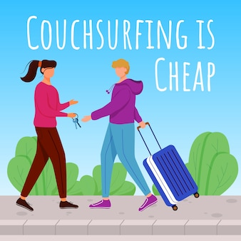 Couchsurfing is cheap social media post . lodging without charge. advertising banner  template. social media booster, content layout. promotion poster, print ads with  illustrations
